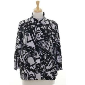 Zenergy By Chicos Womens 1 M 8 Blouse Top Black